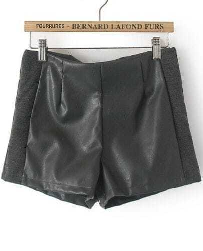Dark Grey Contrast PU Leather Straight Shorts