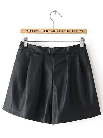 Black Elastic Waist Pockets PU Shorts