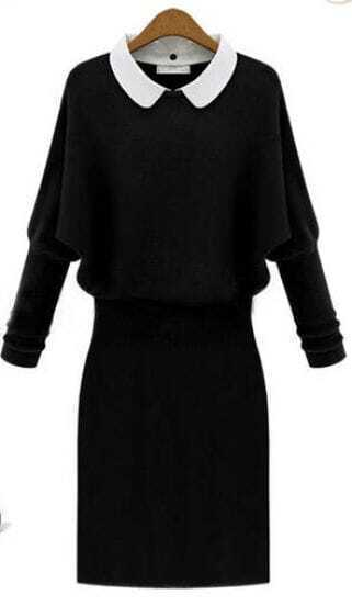 Black Long Sleeve Contrast Lapel Sweater Dress