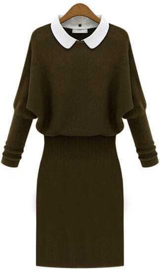 Army Green Long Sleeve Contrast Lapel Sweater Dress