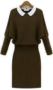 Army Green Long Sleeve Contrast Lapel Sweater Dress
