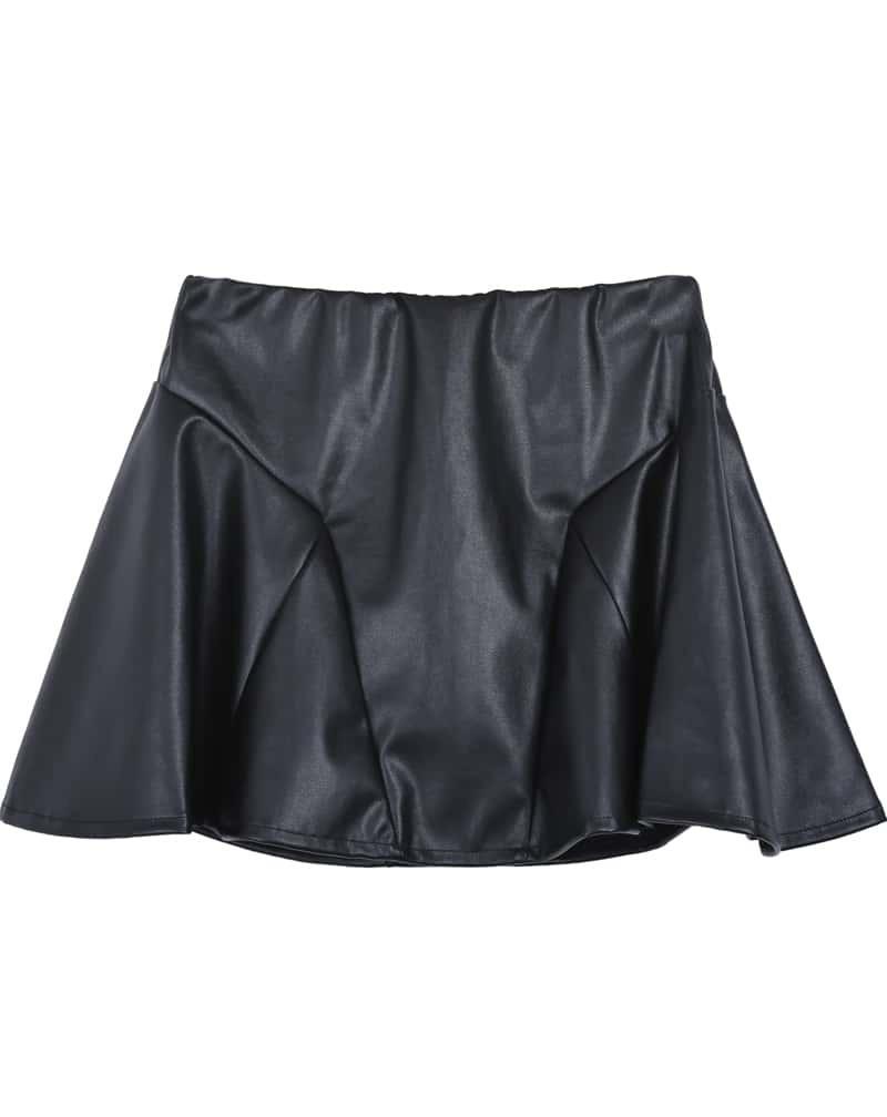 black ruffle pu leather skirt shein sheinside