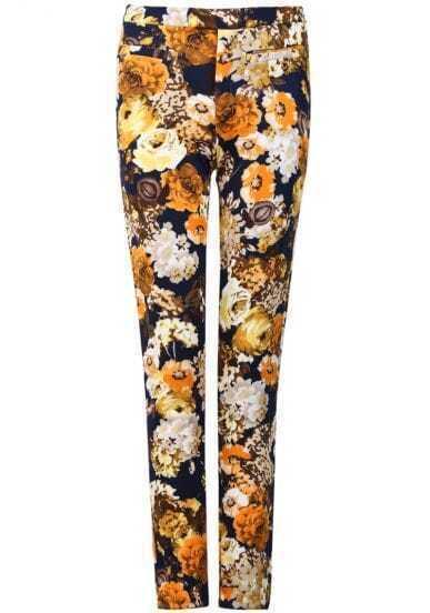 Yellow Pockets Rose Print Pant