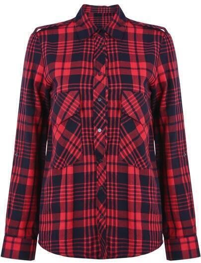 Red Lapel Long Sleeve Plaid Epaulet Blouse