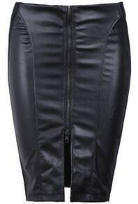 Black Zipper Split Bodycon Skirt