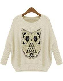 Apricot Batwing Long Sleeve Owl Sequined Sweater