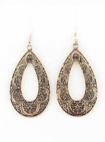 Retro Gold Hollow Drop Dangle Earrings