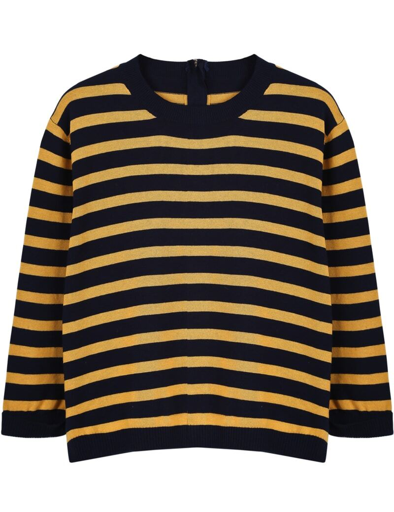 Black Yellow Striped Long Sleeve Crop Sweater -SheIn(Sheinside)