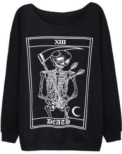 Black Long Sleeve Skull Print Loose Sweatshirt