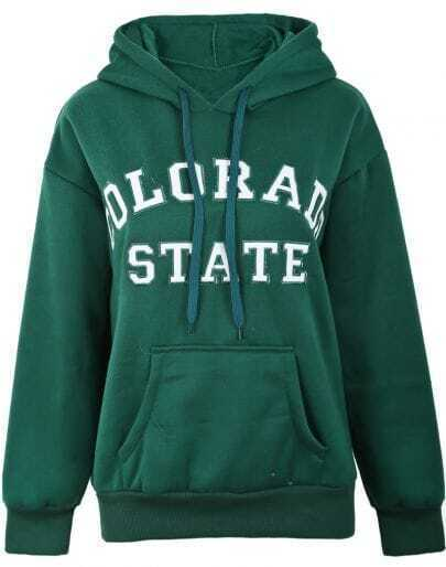 Green Hooded Long Sleeve Letters Print Sweatshirt