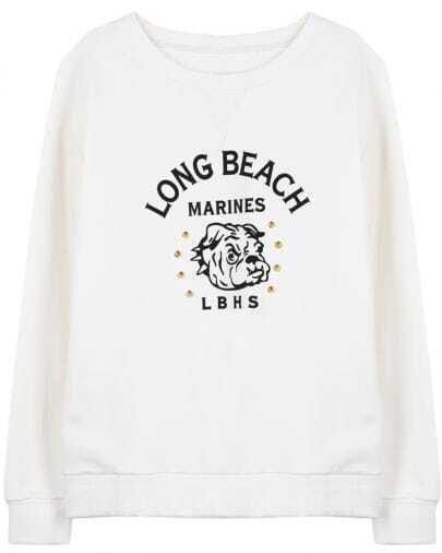 White Long Sleeve Dog Letters Print Rivet Sweatshirt
