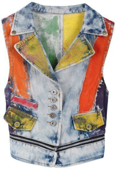 Blue Lapel Sleeveless Multicolor Print Denim Vest