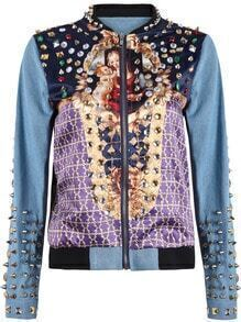 Blue Long Sleeve Bible Print Rivet Denim Jacket