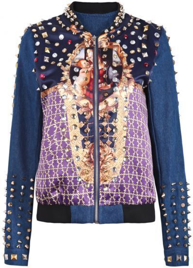 Navy Long Sleeve Bible Print Rivet Denim Jacket