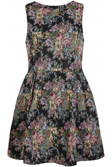 Black Round Neck Sleeveless Floral Ruffle Dress