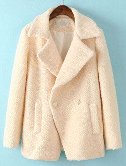 Beige Lapel Long Sleeve Pockets Woolen Coat