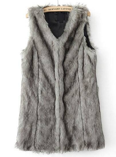 Grey V Neck Sleeveless Faux Fur Vest