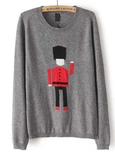 Grey Long Sleeve Soldier Robot Pattern Sweater
