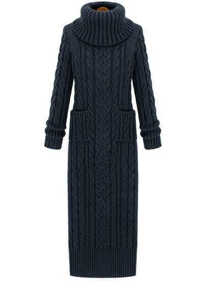 Dark Grey High Neck Split Cable Knit Sweater Dress