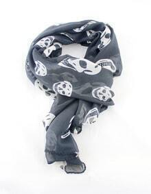 Black Fashion White Skull Print Scarves