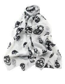 White Fashion Black Skull Print Scarves
