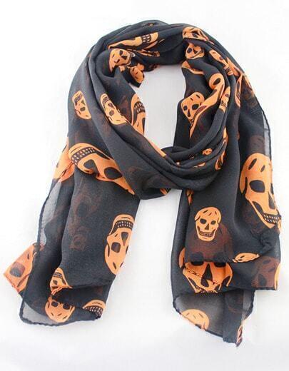 Black Fashion Yellow Skull Print Scarves