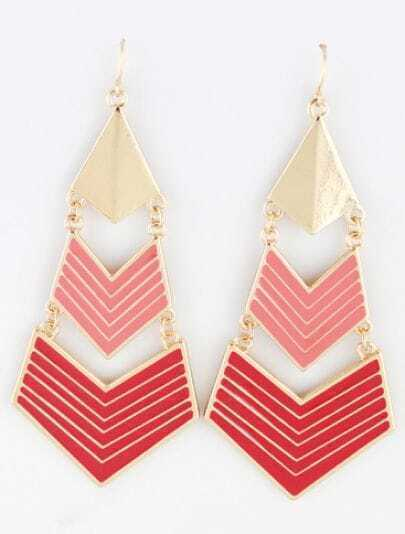 Red Gold Geometric Dangle Earrings