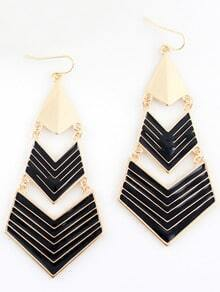 Black Gold Geometric Dangle Earrings