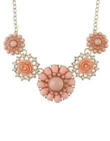 Pink Gemstone Gold Flower Necklace