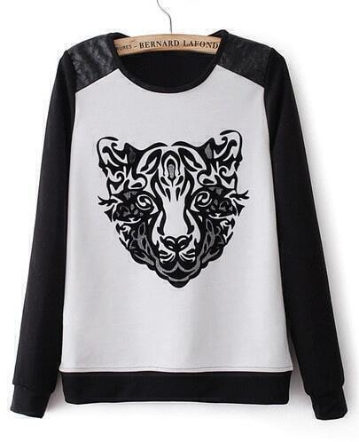 Black Long Sleeve Contrast Leather Tiger Print Sweatshirt