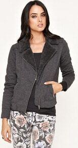 Grey Long Sleeve Notch Lapel Zip Fur Jacket