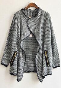 Black Long Sleeve Front Flecked Zip Cardigan
