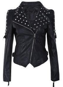 Black Rivet Embellishment Shrug Shoulder PU Leather Jacket