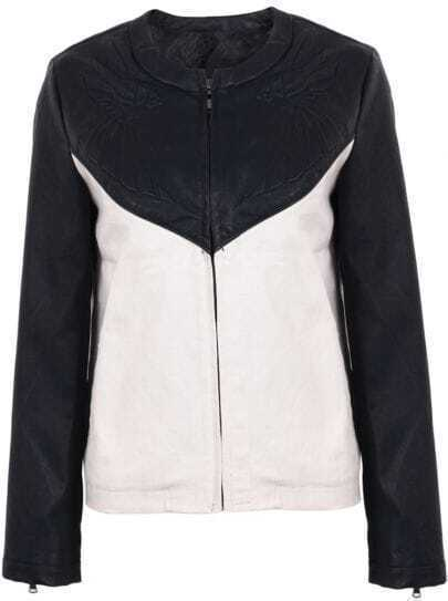 Black Contrast PU Leather Zipper Crop Jacket