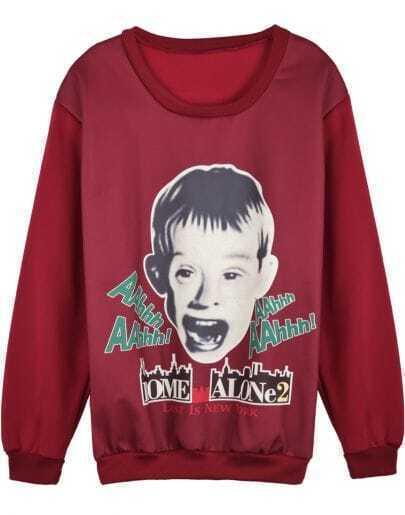 Red Long Sleeve Boy Print Loose Sweatshirt