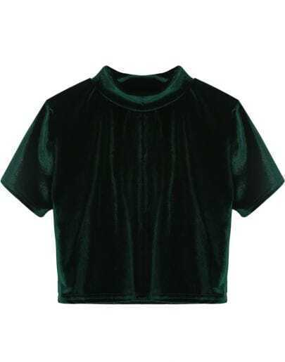 Green Round Neck Short Sleeve Crop Velvet T-Shirt