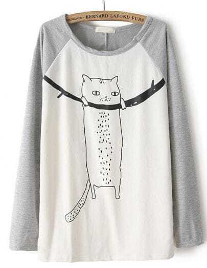 Grey Contrast Long Sleeve Cat Print T-Shirt