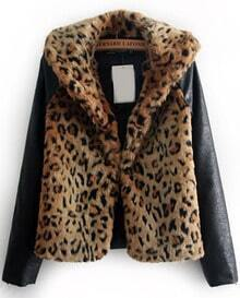 Leopard Contrast PU Leather Long Sleeve Jacket