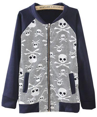 Navy Long Sleeve Skull Print Loose Jacket