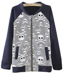 Navy Long Sleeve Skull Print Loose Jacket