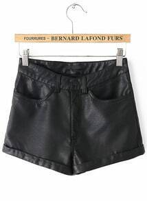 Black Pockets Flange PU Leather Shorts