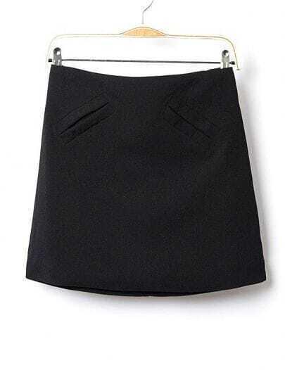 Black High Waist Pockets A Line Skirt