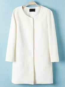 White Long Sleeve Simple Design Trench Coat