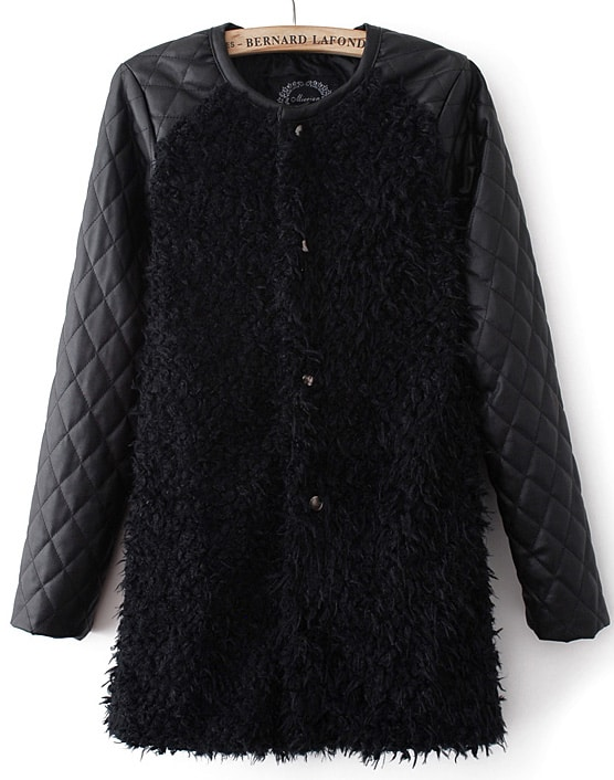 Black Contrast PU Leather Long Sleeve Faux Fur Coat -SheIn(Sheinside)