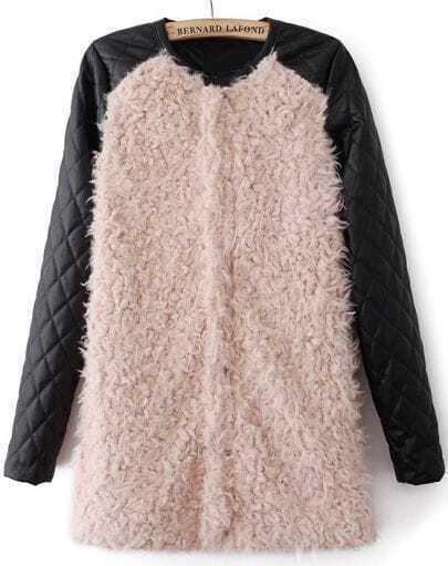 Beige Contrast PU Leather Long Sleeve Faux Fur Coat