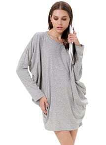 Grey Batwing Long Sleeve Loose T-Shirt
