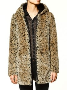 Leopard Hooded Long Sleeve Faux Fur Coat