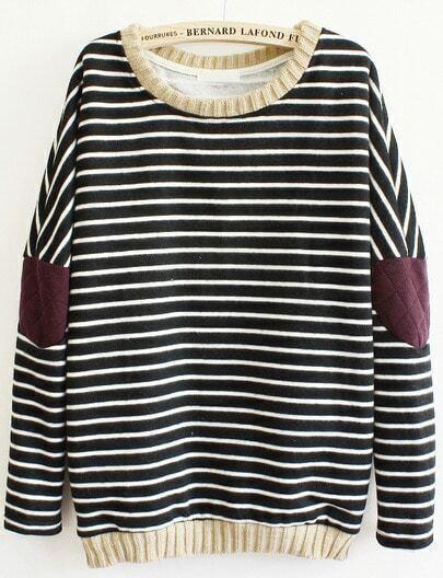 Black Long Sleeve Striped Elbow sweatshirt