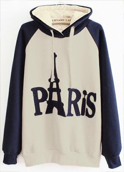 White Contrast Blue Hooded PARIS Print Sweatshirt