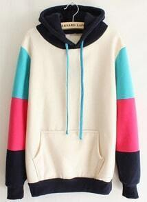 Beige Hooded Contrast Long Sleeve Pocket Sweatshirt